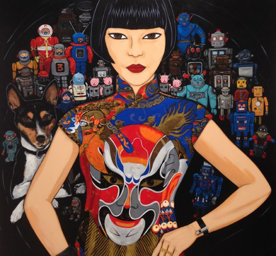 "Archibald Prize finalist ""Claudia, Spartacus and the Robots"" by Kate Beynon"