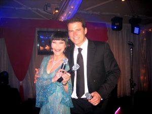 Claudia Chan Shaw MC with Karl Stefanovic Pink Ribbon Gala