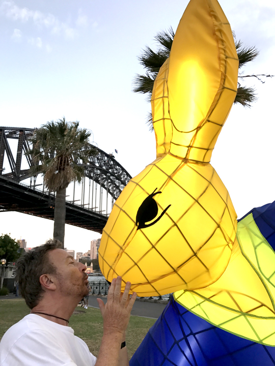 Stewart White with Tai Chi Rabbit lantern by Claudia Chan Shaw Chinese New Year 2017