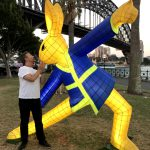 Stewart White withTai Chi Rabbit lantern by Claudia Chan Shaw