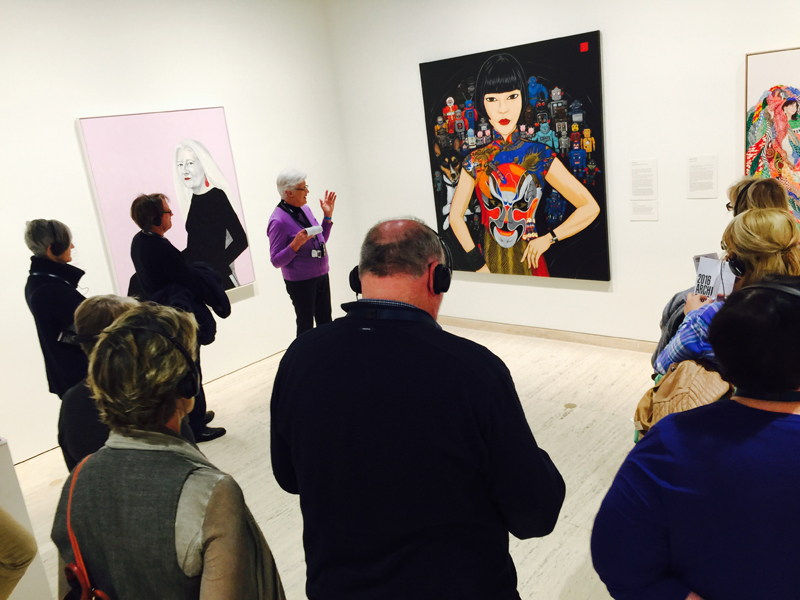 Guided tour of the Archibald Prize 2016. Claudia Spartacus and the Robots by Kate Beynon.