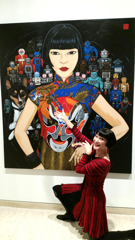 Claudia Chan Shaw with Claudia Spartacus and the Robots by artist Kate Beynon Archibald Prize finalist 2016