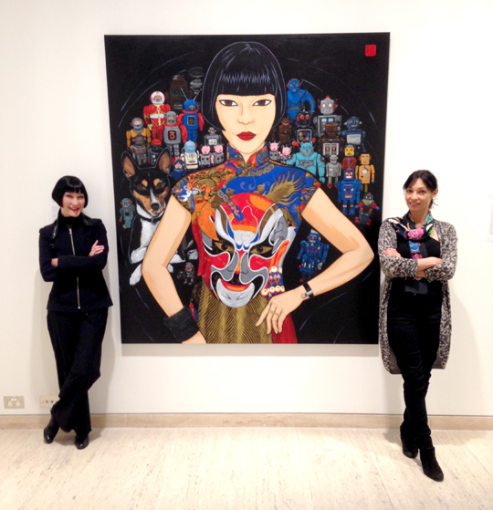 Claudia Chan Shaw with artist Kate Beynon and her painting Claudia Spartacus and the Robots Archibald Prize 2016